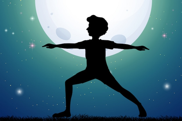 Silhouette man doing yoga on fullmoon night Free Vector