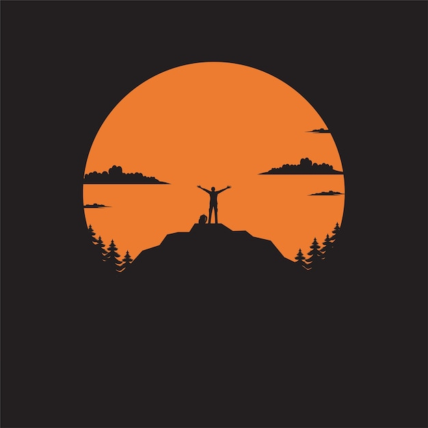 Silhouette the man of mountain on the sun Premium Vector