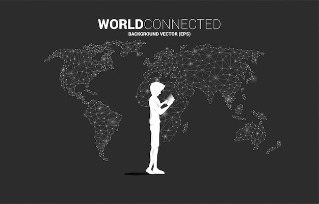 Silhouette of man use mobile phone with world map polygon background. concept for remote work from home and technology. Premium Vector