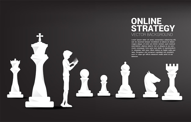 Silhouette of man using mobile phone with chess. Premium Vector
