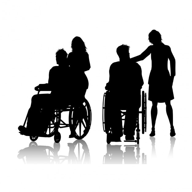 Silhouette of a man in a wheelchair with a woman Free Vector