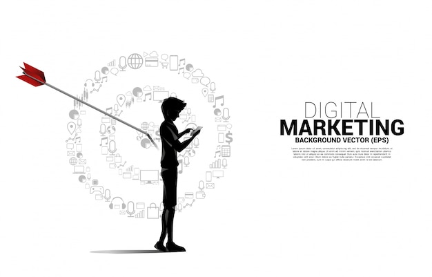 Silhouette man with mobile phone with point dartboard from marketing icon . business concept of marketing target and customer Premium Vector