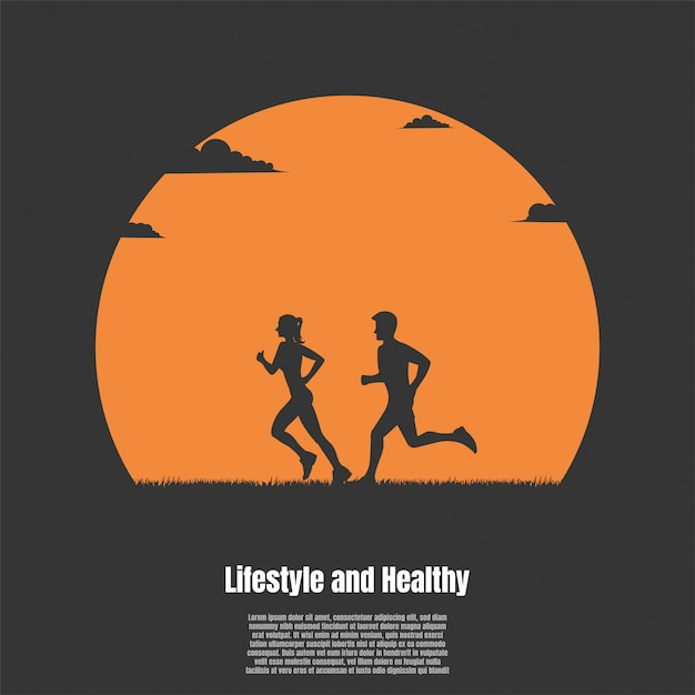 Silhouette man and woman running Premium Vector