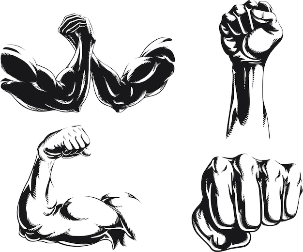 Silhouette mma fighter bodybuilder arm logo isolated, illustration on black and white style Premium Vector