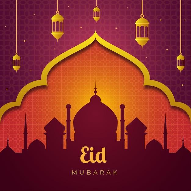 Silhouette of mosque eid mubarak Premium Vector
