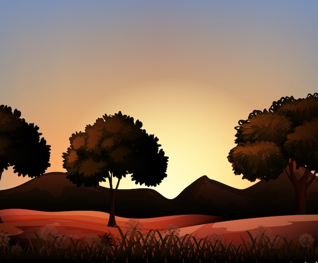 Silhouette nature scene with field and trees Free Vector