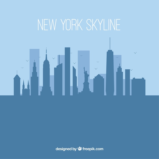 Silhouette new york skyline background in flat style Free Vector