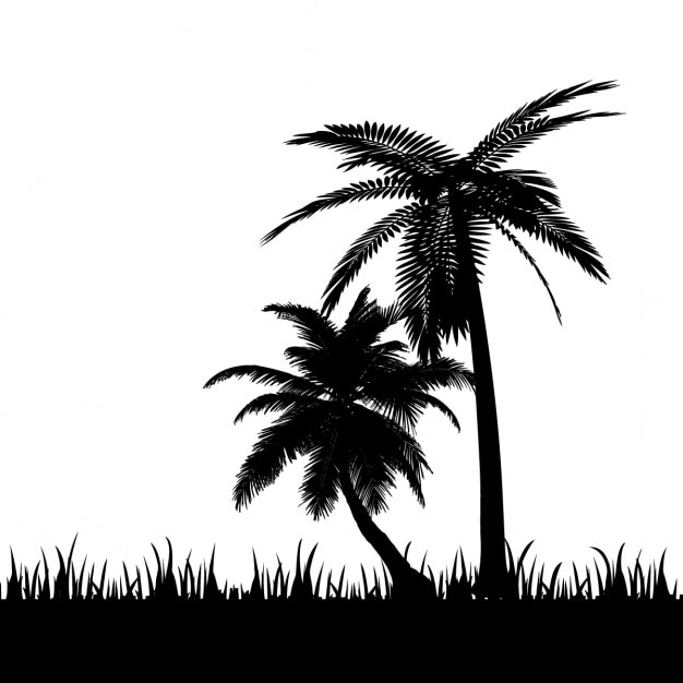 Silhouette of a beach landscape Vector | Free Download