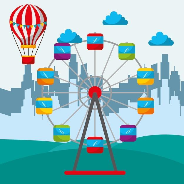 Силуэт города и зрелищный цирк Premium векторы