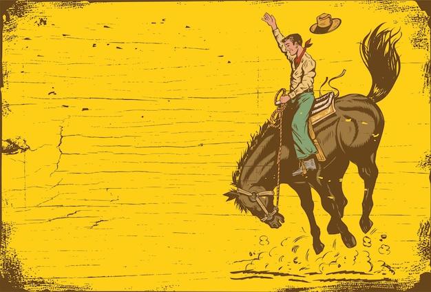 Силуэт ковбоя на дикой лошади Premium векторы
