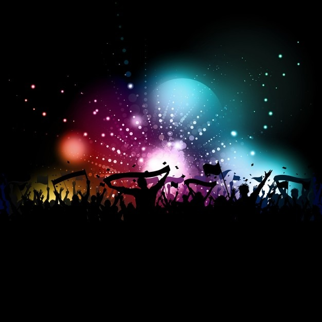 Silhouette of a crowd with banners and flags on\ a disco lights background