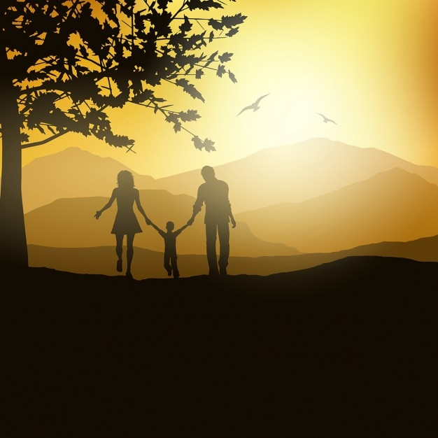 Image result for family of 3 silhouette