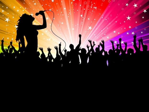 Silhouette of a female singer performing in front of a cheering audience Free Vector