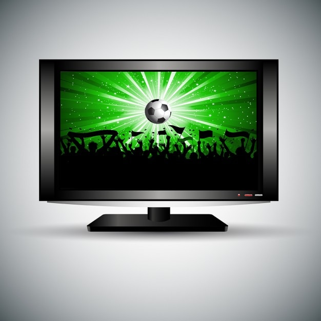 Silhouette of a football crowd on an lcd\ television