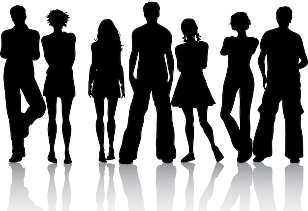 Silhouette of a group of friends Free Vector