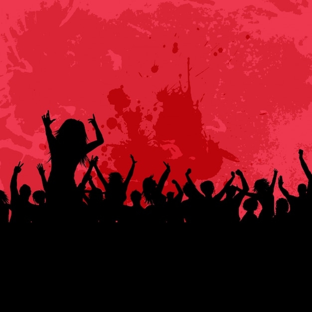 Silhouette of a party crowd on a grunge\ background