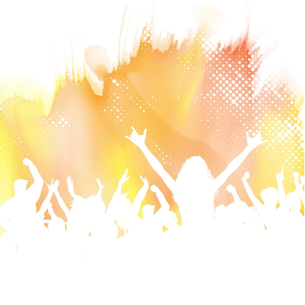 Silhouette of a party crowd on a watercolour\ background