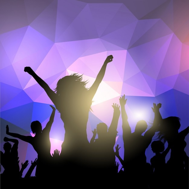 Silhouette of a party crowd on an abstract\ background