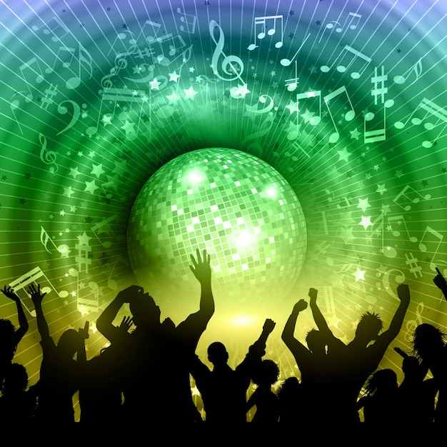 Silhouette of a party crowd on an abstract\ mirror ball background with music notes