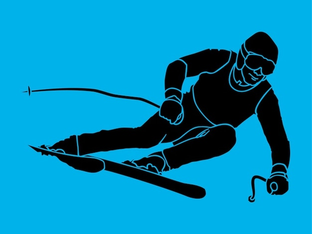 Silhouette of a skiing man