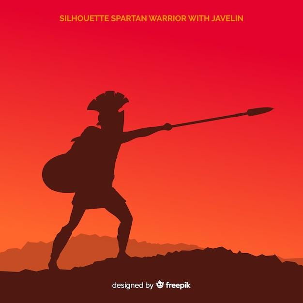 Силуэт тренировки спартанского воина Premium векторы
