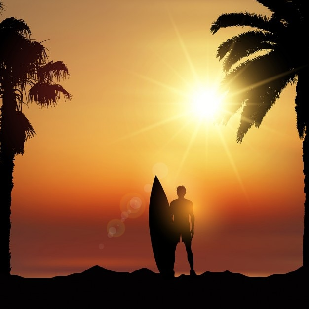 Silhouette of a surfer in a tropical landscape Free Vector