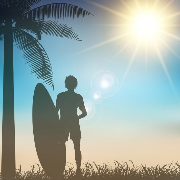 Silhouette of a surfer on a tropical background Free Vector