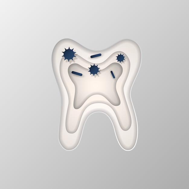 Силуэт зуба, вырезанный на бумаге. Premium векторы