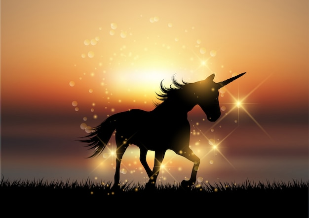 Silhouette of a unicorn in a sunset\ landscape