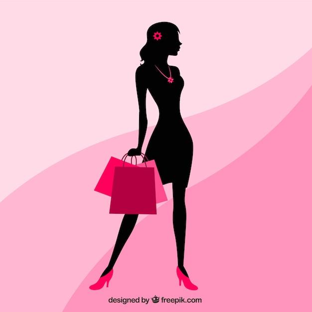 شبح زن با کیسه های خرید