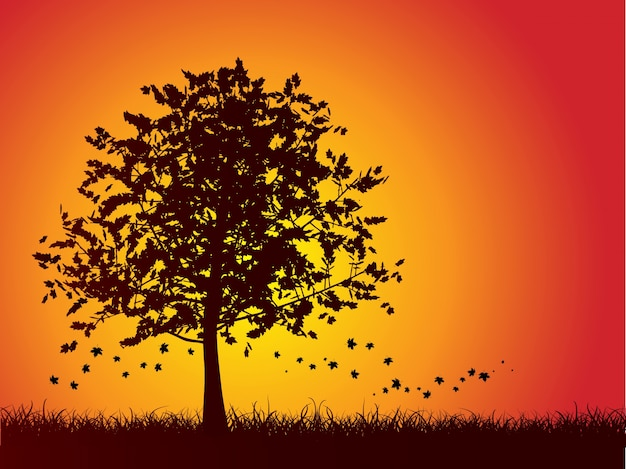 Silhouette of an autumn tree with leaves\ falling