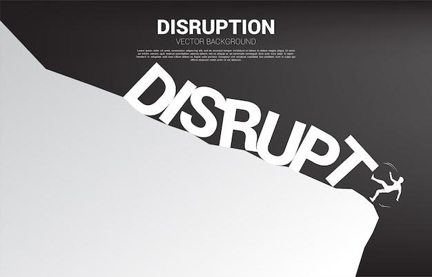 Силуэт бизнесмен падает с обрыва срыв коллапс. концепция кризиса от срыва бизнеса Premium векторы