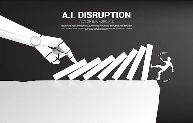 Силуэт бизнесмен падает с обрыва эффект домино от руки робота. Premium векторы