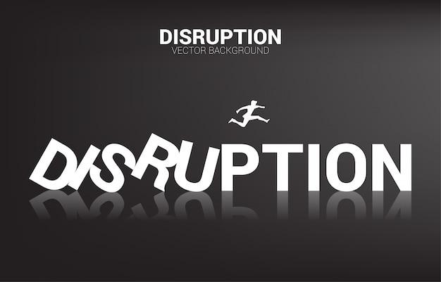 Силуэт бизнесмена прыгать от краха домино. бизнес-концепция разрушения бизнеса и эффекта домино Premium векторы