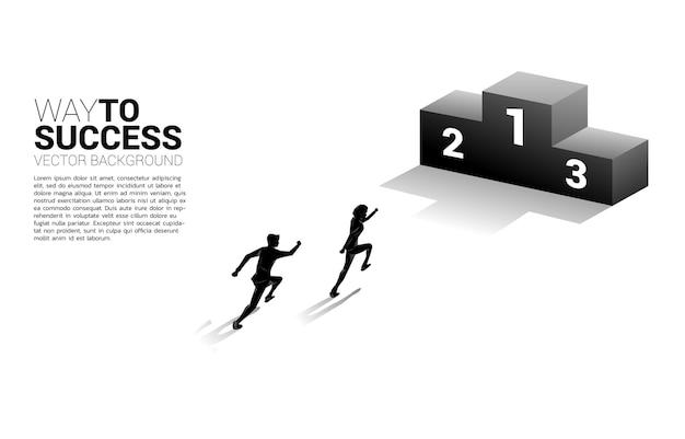 Силуэт бизнесмена, идущего к подиуму первого места. бизнес-концепция победителя и успеха Premium векторы