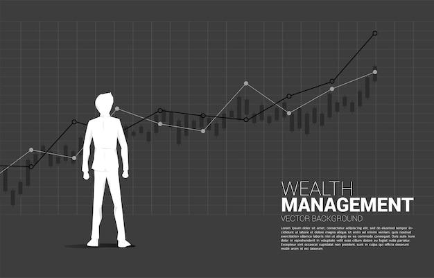 成長グラフと立っているビジネスマンのシルエット。成長ビジネスの概念、キャリアパスでの成功。 Premiumベクター