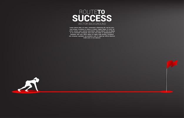 목표에 적기 경로 경로에서 실행할 준비가 사업가의 실루엣. 성공에 경력과 사업을 시작할 준비가 사람들의 개념. 프리미엄 벡터