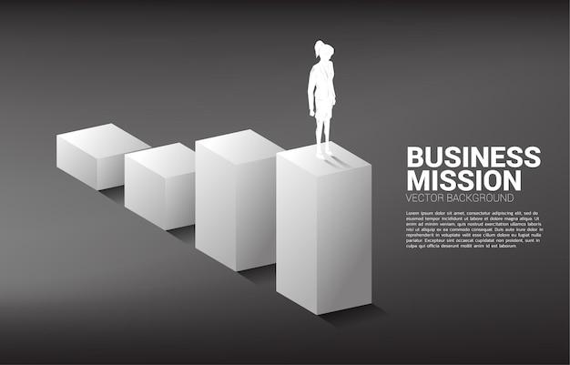 棒グラフに立っている実業家のシルエット。キャリアとビジネスのレベルを上げる準備ができている人々の概念。 Premiumベクター