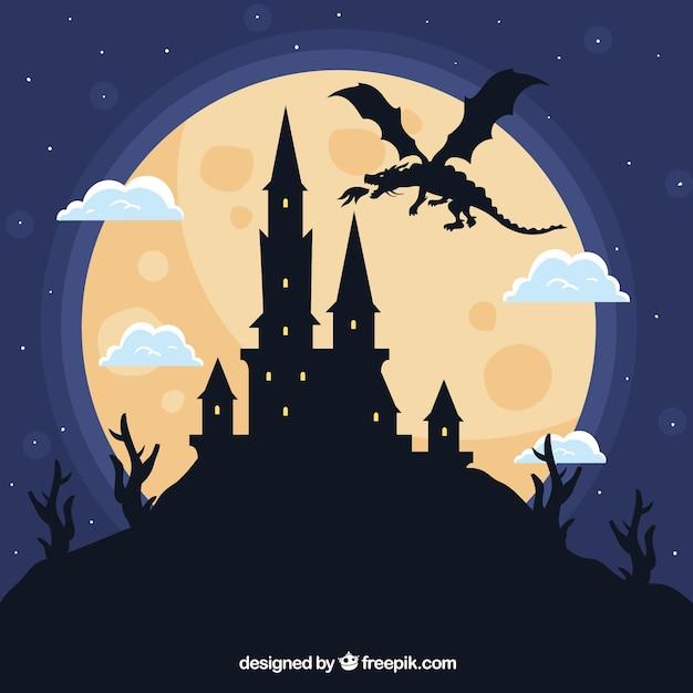 Силуэт замка и летающего дракона Бесплатные векторы