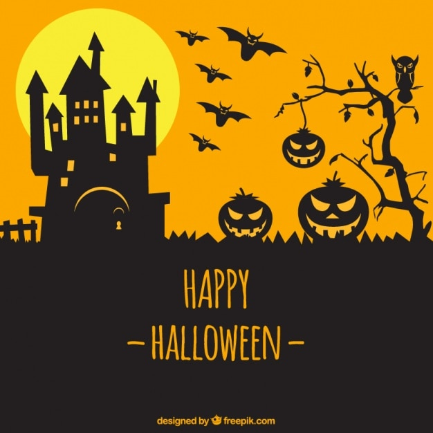 Silhouette of castle and pumpkins yellow\ background