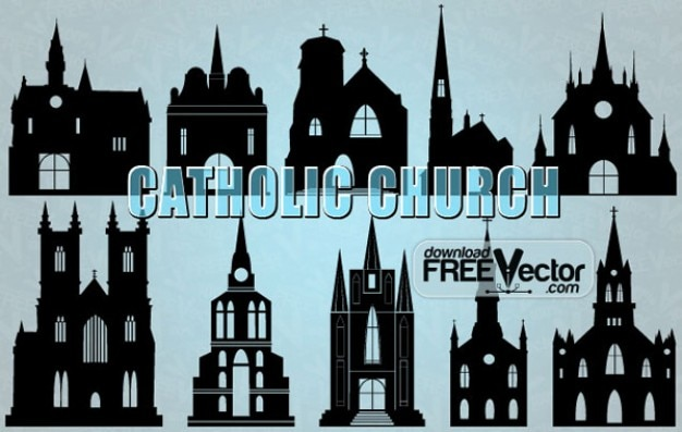 Silhouette of Catholic Church Vector\ Illustration