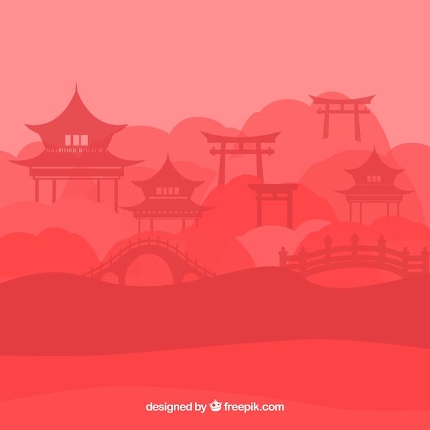 Silhouette of Chinese landscape with pagoda Free Vector