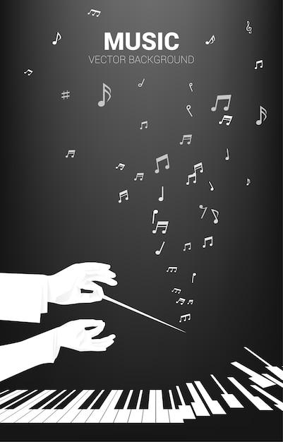 Силуэт дирижера рука держать дубинку с летающей музыкальной нотой. предпосылка концепции для концерта и отдыха оркестра. Premium векторы