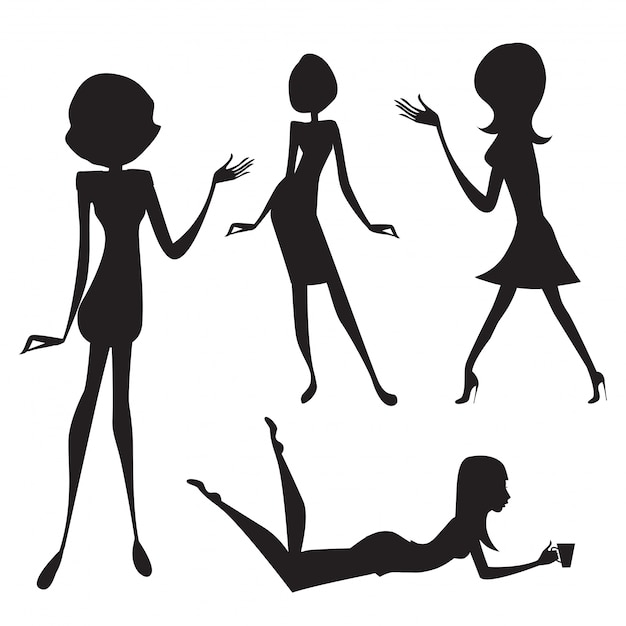 Silhouette of cute fashion girls Free Vector