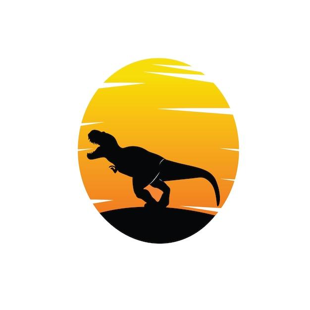 夕日と黒の恐竜のシルエット Premiumベクター