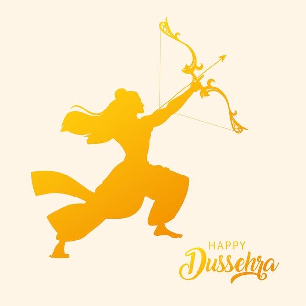 행복한 Dussehra 축제에서 활과 화살로 주 님 라마의 실루엣 프리미엄 벡터