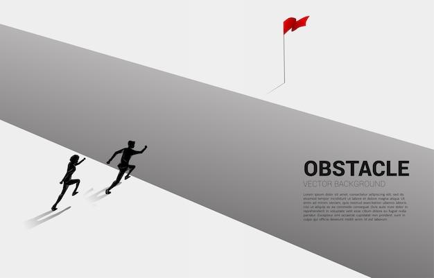 目標に奈落の底を横切って実行している2人のビジネスマンのシルエット。ビジネスの課題と障害の概念 Premiumベクター