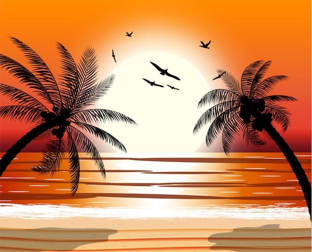 Silhouette of palm tree on beach. Premium Vector