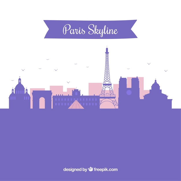 Silhouette paris skyline background in flat style Free Vector