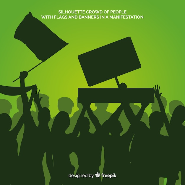Silhouette of people in a demonstration Free Vector
